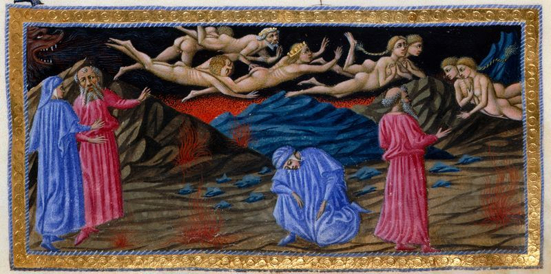 Detail of a miniature of Virgil addressing the carnal sinners Paolo and Francesca, as Dante swoons in horror, in illustration of Canto V in the Inferno, Italy (Tuscany, Siena?), 1444-c. 1450, Yates Thompson MS 36, f. 10r