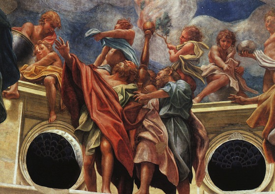 """The apostles with wingless angels (detail), Correggio, Assumption of the Apostles, 1526-30, fresco, 35' 10"""" x 37' 11"""" (Parma Cathedral, Parma)"""