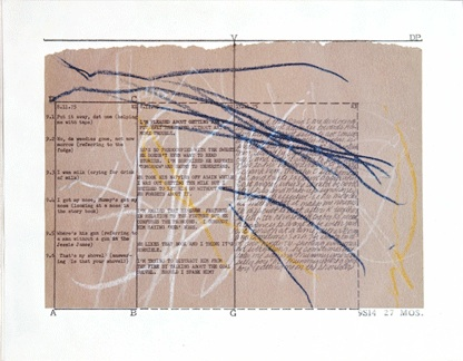 Mary Kelly, Post-Partum Document, 1973-79, perpsex units, white card, sugar paper, crayon, 1 of the 13 units, 35.5 x 28 cm each