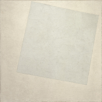 Kazimir Malevich, Suprematist Composition: White on White, 1918, oil on canvas, 31 1/4 x 31 1/4 inches / 79.4 x 79.4 cm (The Museum of Modern Art)
