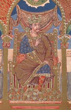 Charles (detail), Ruler portrait of Charles the Bald, Codex Aureus of Saint Emmeram, 9th century (Munich, Bayerische Staatsbibliothek, Clm.14000, f. 5 v.)