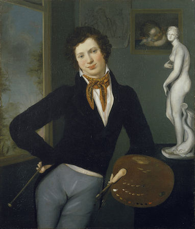 Moritz Daniel Oppenheim, Self-Portrait, 1814-16 (The Jewish Museum, New York), Moritz Oppenheim''s life and work epitomize German Jewry's journey from traditional life to modernity. Born in the ghetto of Hanau, he studied academic painting, an opportunity previously unavailable to Jews. As a portrait painter in Frankfurt, he received commissions from both Jews and non-Jews and enjoyed the patronage of the Rothschilds. In this work, one of the earliest self-portraits by a Jewish artist, a young Oppenheim depicts himself proudly holding his palette, a vivid testimony to the emergence of Jewish artists during the 19th century. Source