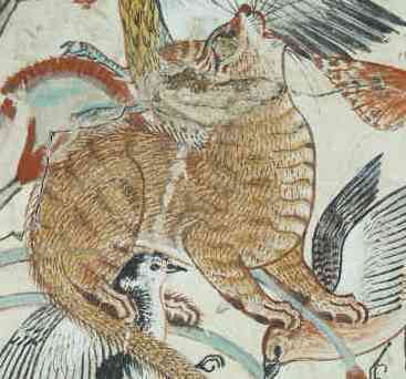 Cat catching birds in the papyrus clump (detail), from the Fowling in the Marshes scene, 18th Dynasty, Tomb of Nebamun, from the tomb of Nebanum, c. 1350 B.C.E., 18th Dynasty, paint on plaster, Thebes © The Trustees of the British Museum