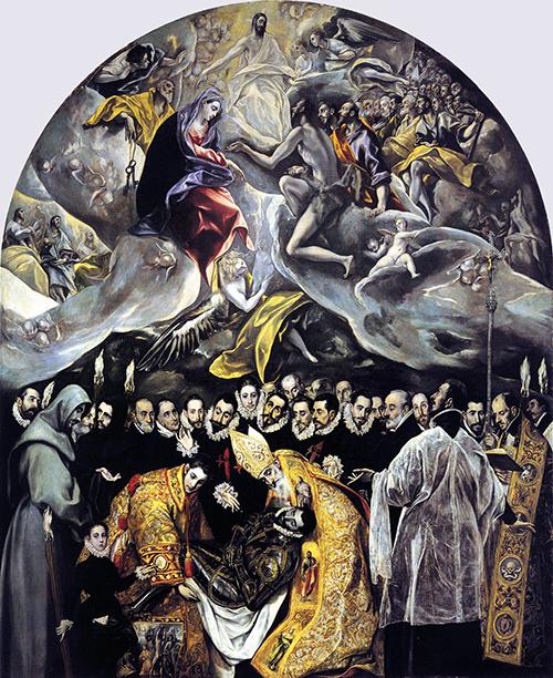 El Greco, 1586, oil on canvas, 460 × 360 cm (Santo Tomé, Toledo, Spain)
