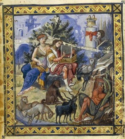 """David Composing the Psalms, from the Paris Psalter, c. 900 C.E. 14 1/8 x 10 1/4"""" / 36 x 26 cm (Bibliothèque nationale de France)"""