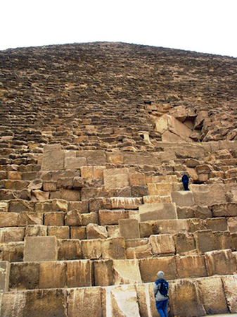 View up the side of Khufu's pyramid showing scale of the core blocks (Photo: Amy Calvert)