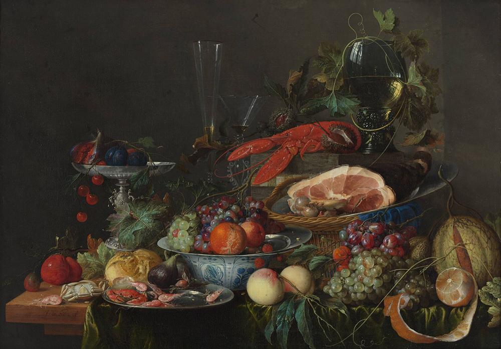 Jan Davidsz. de Heem, Still Life with Ham, Lobster and Fruit, c. 1653, 75 x 105 cm (Boijmans Museum, Rotterdam)
