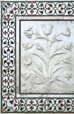 Carving and inlaid stone, Taj Mahal, Agra, India, 1632-53, photo: Martin Lambie (CC BY-NC-SA 2.0)