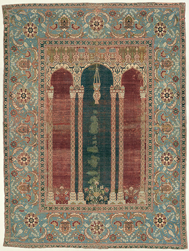 Prayer Carpet (Ottoman), 1575-90, likely Istanbul, silk (warp and weft), wool (pile), cotton (pile), 68 x 50 inches (Metropolitan Museum of Art)