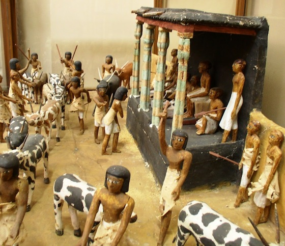 Painted wooden model of the deceased overseeing the counting of cattle in the Egyptian Museum, Cairo (Middle Kingdom). Photo: Dr. Amy Calvert