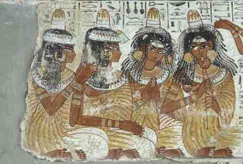 The four musicians and singers with their song written above them (detail), from the second register of the banquet scene, from the tomb of Nebanum, 1370 B.C.E., 18th Dynasty, paint on plaster, Thebes © The Trustees of the British Museum