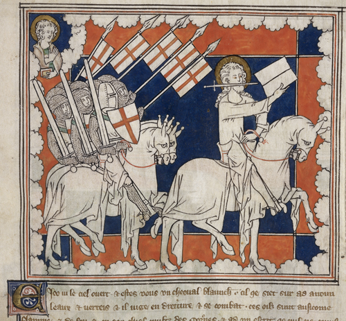 """Christ leading crusaders into battle, detail from an Apocalypse, with commentary (The """"Queen Mary Apocalypse""""), early 14th century, f. 37 (British Library)"""