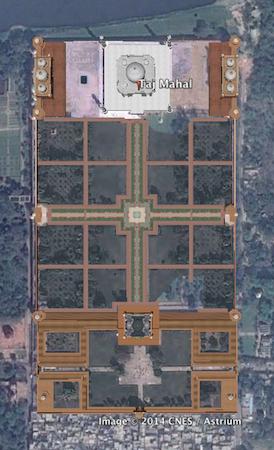 Aerial view from Google Earth, Taj Mahal, Agra, India, 1632-53