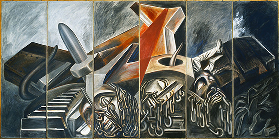José Clemente Orozco, Dive Bomber and Tank, 1940, fresco, six panels, 275 x 91.4 cm each, 275 x 550 cm overall (The Museum of Modern Art)