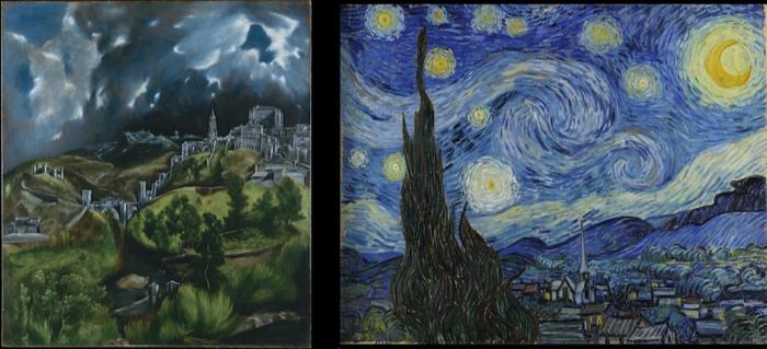 Left: El Greco, View of Toledo; right: Van Gogh, Starry Night, 1889