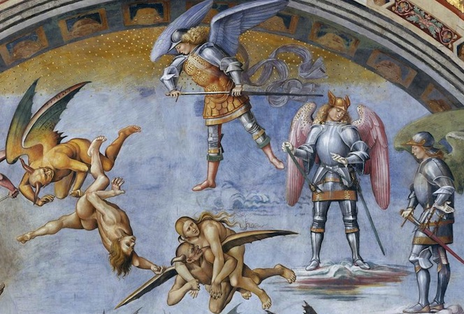 Three archangels, Michael, Gabriel, and Raphael, clad in armor, observe as humans and demons tumble through the sky (detail), Luca Signorelli, The Damned Cast into Hell, 1499-1504, fresco, 23' wide (San Brizio chapel, Orvieto Cathedral, Orvieto, Italy)