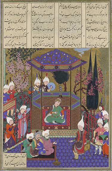 Zal Expounds the Mysteries of the Magi, Folio from the Shahnama (Book of Kings) of Shah Tahmasp Abu'l Qasim Firdausi, attributed to Qadimi, c. 1525 Tabriz, Iran, opaque watercolor, ink, silver, and gold on paper, 18-1/2 x 12-9/16 inches (Metropolitan Museum of Art)
