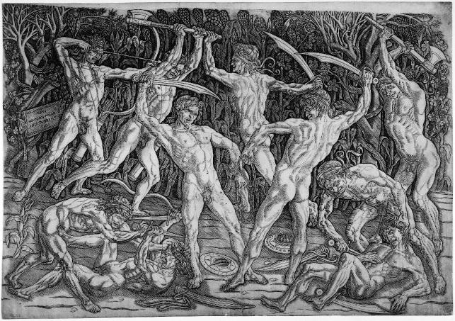 Antonio Pollaiuolo, Battle of the Nudes, c. 1470-95, engraving, 41.6 x 59.4 cm (The British Museum)