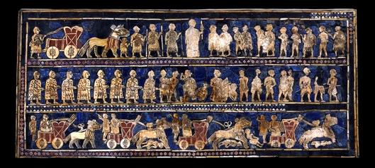 "The Standard of Ur (""War""), 2600-2400 B.C.E., shell, red limestone, lapis lazuli, and bitumen (original wood no longer exists), 21.59 x 49.53 x 12 cm  © The Trustees of the British Museum"