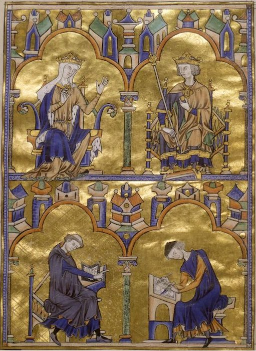 Blanche of Castile and King Louis IX of France; Author Dictating to a Scribe, Moralized Bible, France, probably Paris, ca. 1230, 14 3/4 x 10 1/4 inches / 37.5 x 26.2 cm (The Morgan Library & Museum)Blanche of Castile and King Louis IX of France; Author Dictating to a Scribe, Moralized Bible, France, probably Paris, c. 1230, 14 3/4 x 10 1/4 inches / 37.5 x 26.2 cm (The Morgan Library & Museum)