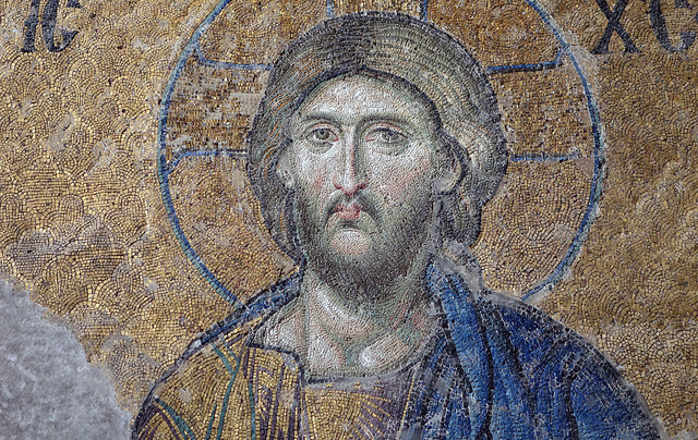 Christ, Deësis mosaic (bust), undated Byzantine mosaic, Hagia Sophia, Istanbul, 4.08 x 5.95m, photo: Steven Zucker