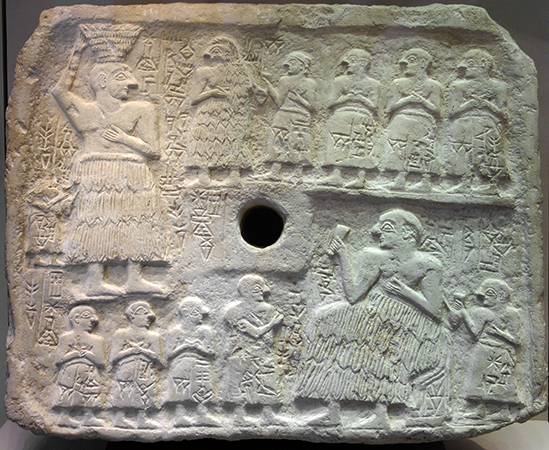 Perforated relief of Ur-Nanshe, king of Lagash, limestone, Early Third Dynasty (2550–2500 B.C.E.), found in Telloh or Tello (ancient city of Girsu). 15-¼ x 18-¼ inches / 39 x 46.5 cm (Musée du Louvre)