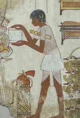 Scribe (detail), Nebamun's geese, Tomb-chapel of Nebamun, c. 1350 B.C.E., 18th Dynasty, paint on plaster, 71 x 115.5 cm, Thebes © Trustees of the British Museum