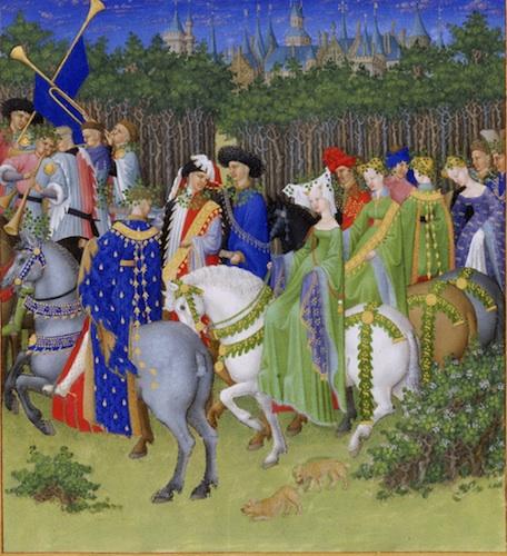 Limbourg Brothers, Très Riches Heures du duc de Berry Folio 5, verso: May, 1412-16, manuscript illumination on vellum, 22.5 x 13.6 cm (Musée Condé)