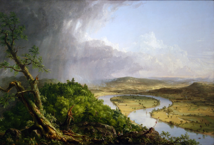 Thomas Cole, View from Mount Holyoke, Northampton, Massachusetts, after a Thunderstorm—The Oxbow, 1836, oil on canvas, 51 1/2 x 76 inches / 130.8 x 193 cm (The Metropolitan Museum of Art)