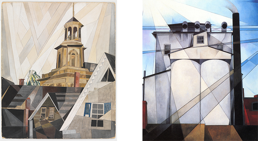 Left: Charles Demuth, After Sir Christopher Wren, 1920, Watercolor, gouache, and pencil on cardboard; 60.5 x 51 cm (Metropolitan Museum of Art); Right: Charles Demuth, My Egypt, 1927. oil on fiberboard, 90.8 × 76.2 cm (Whitney Museum of American Art)