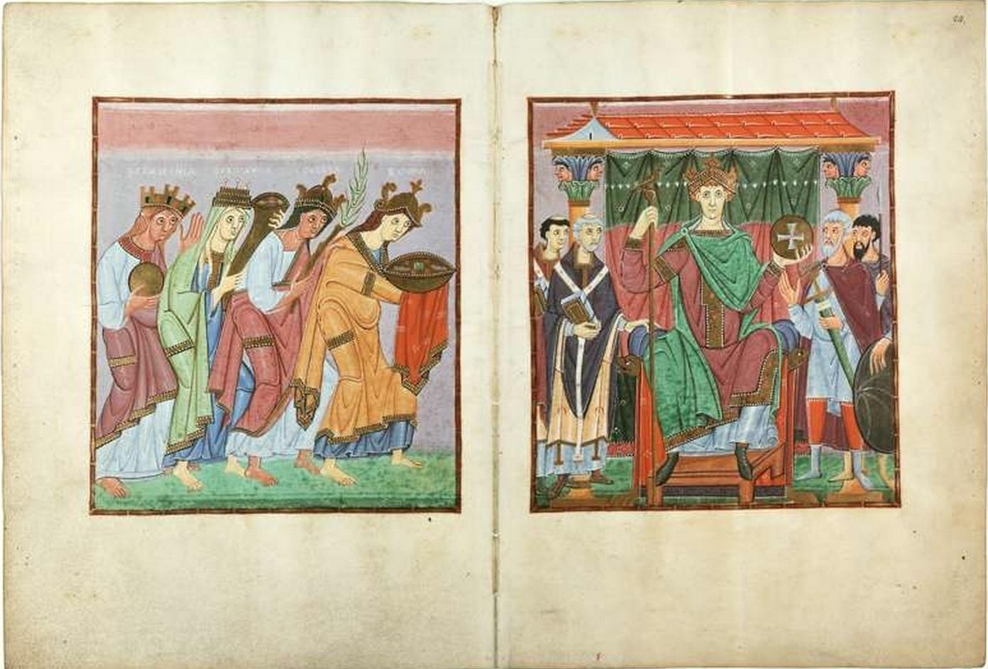 Gospels of Otto III (Munich, Bayerische Stattsbibliothek, Clm.4453), Ruler portrait of Otto III (f.24) and Provinces Bringing Tribute (f.23v.)