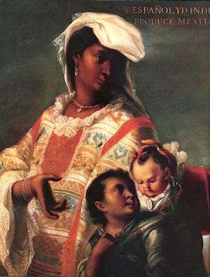 Detail, Spaniard and Indian Produce a Mestizo, attributed to Juan Rodríguez Juárez