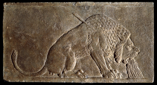 The Dying Lion, panel from the North Palace of Ashurbanipal, Nineveh, northern Iraq, Neo-Assyrian, c. 645 B.C.E., alabaster, 16.5 x 30 cm © Trustees of the British Museum  Part of a series of wall panels that showed a royal hunt. Struck by one of the king's arrows, blood gushes from the lion's mouth. There was a very long tradition of royal lion hunts in Mesopotamia, with similar scenes known from the late fourth millennium B.C.E.