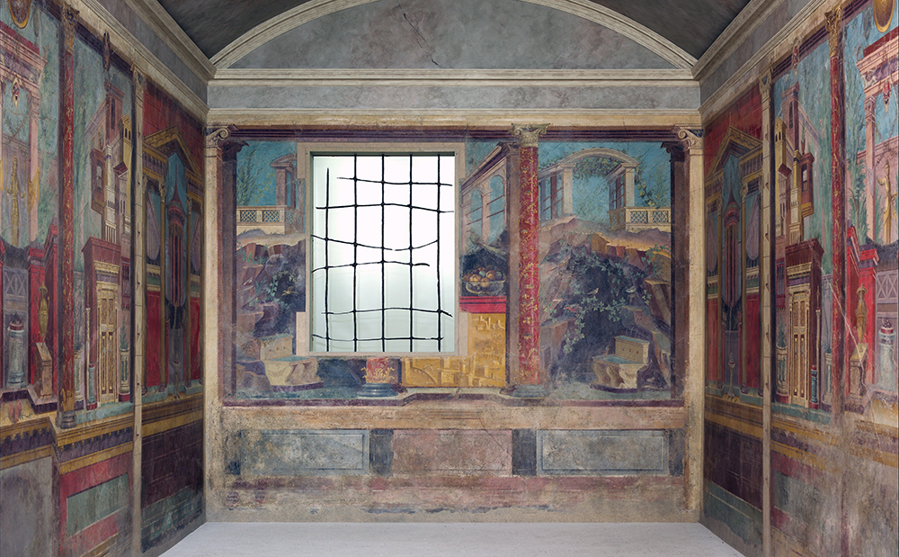 Cubiculum (bedroom) from the Villa of P. Fannius Synistor at Boscoreale, 50–40 B.C.E., fresco 265.4 x 334 x 583.9 cm