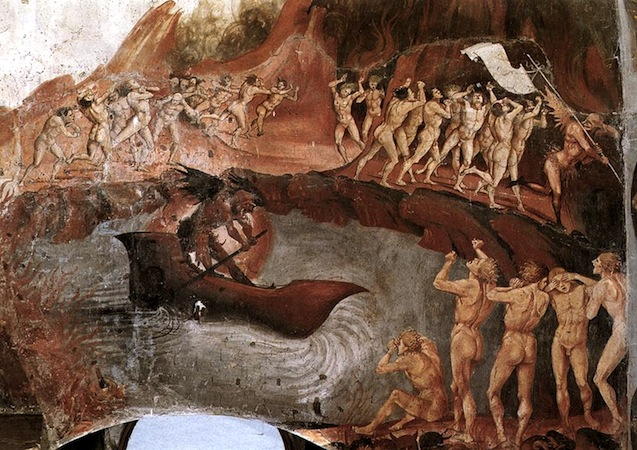 The damned being carried across the river to the underworld (detail), Luca Signorelli, The Damned Cast into Hell, 1499-1504, fresco, 23' wide (San Brizio chapel, Orvieto Cathedral, Orvieto, Italy)