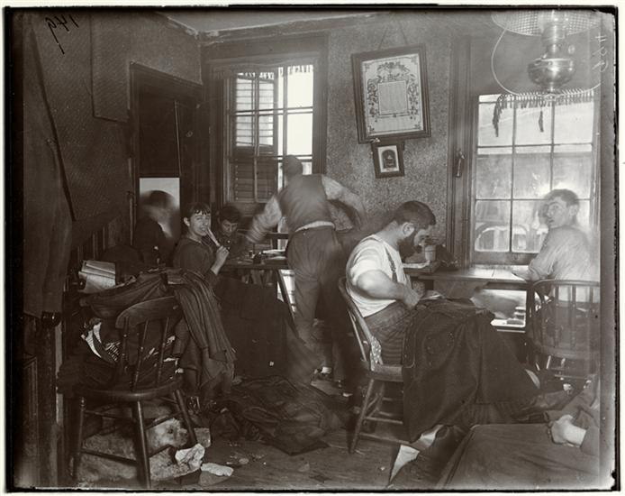 "Jacob August Riis, ""Knee-pants"" at forty five cents a dozen—A Ludlow Street Sweater's Shop, c. 1890, 7 x 6 inches ("