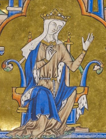 Blanche of Castille (detail), Dedication Page with Blanche of Castile and King Louis IX of France, Bible of Saint Louis (Moralized Bible), c. 1225–1245, ink, tempera, and gold leaf on vellum (The Morgan Library and Museum, MS M. 240, fol. 8).