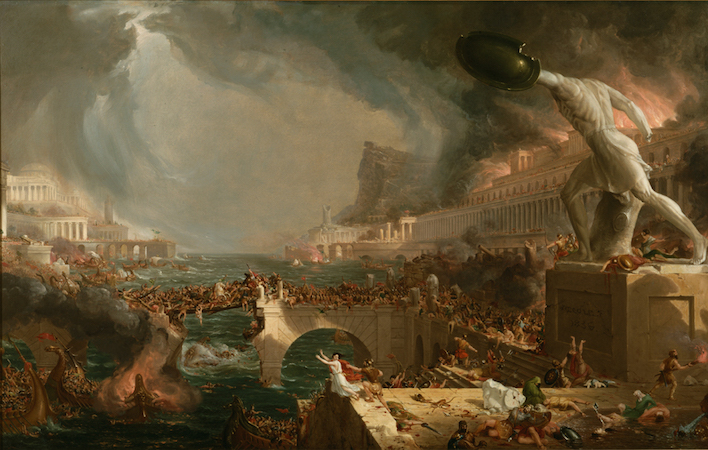 Thomas Cole, The Course of Empire: Destruction, 1833-36, oil on canvas, 39 ½ × 63 ½ inches (The New-York Historical Society)