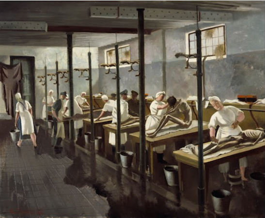 """Doris Clare Zinkeisen, Human Laundry, Belsen: April 1945 (Imperial War Museums) """"In 1944 Zinkeisen was commissioned by the Red Cross and St John War Organisation to record their work in north-west Europe, and was one of the few women war artists to be sent overseas. On 15 April 1945 British soldiers entered Bergen-Belsen concentration camp to find a scene of absolute horror. Ten thousand corpses lay unburied, and around 60,000 starving and sick people were packed into the camp's barracks without food or water. Doris Zinkeisen arrived soon afterwards. Human Laundry is arguably the most powerful work produced by any of the artists who were present….The camp inmates needed to be washed and de-loused to prevent the spread of typhus before they could be admitted to the makeshift Red Cross hospital nearby."""" Source"""