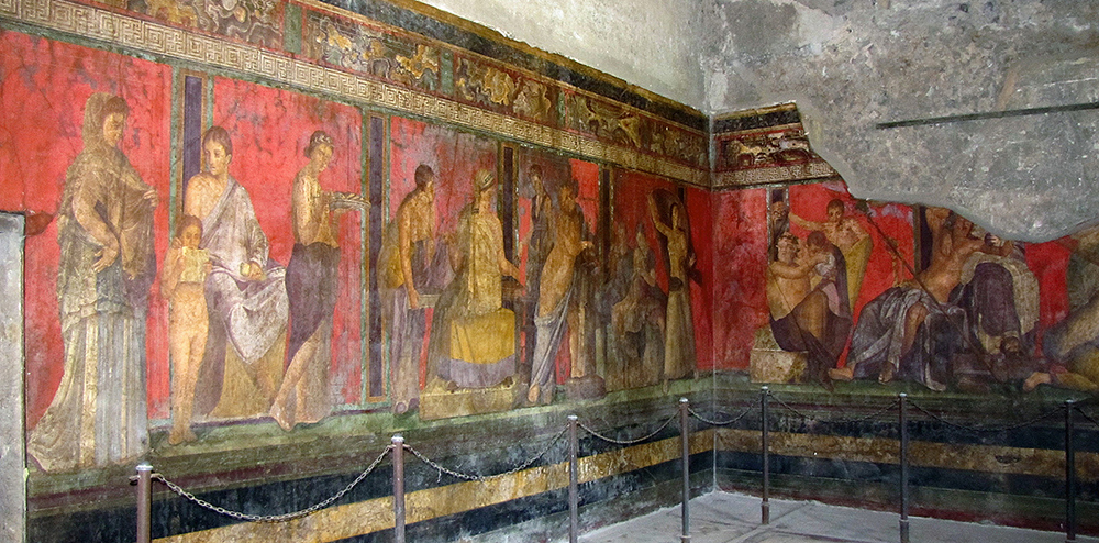View of the Dionysiac frieze, Villa of the Mysteries, before 79 C.E., fresco, 15 x 22 feet, just outside the walls of Pompeii on the Road to Herculaneum