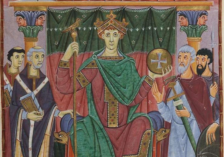 Detail of ruler portrait of Otto III (f.24), Gospels of Otto III (Munich, Bayerische Stattsbibliothek, Clm.4453)