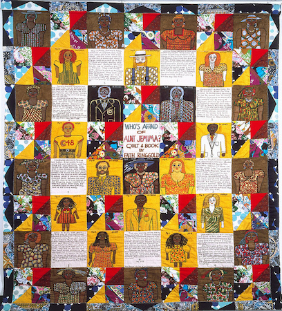 Faith Ringgold, Who's Afraid of Aunt Jemima? (1983), acrylic on canvas, dyed, painted and pieced fabric, 90 x 80 inches (private collection)