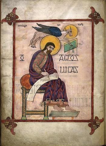 Lindesfarne Gospels, St. Luke, portrait page (137v) (British Museum)