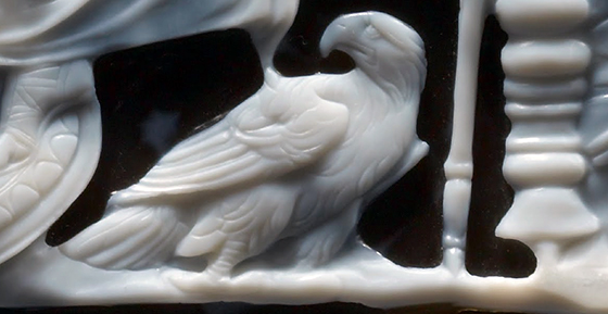 Eagle from the upper register (detail), Dioskourides, Gemma Augustea, 9 - 12 C.E., 19 x 23 cm, double-layered sardonyx with gold, gold-plated silver (Kunsthistorisches Museum Vienna)