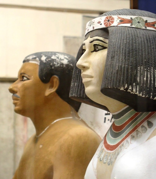 Beautifully preserved life-size painted limestone funerary sculptures of Prince Rahotep and his wife Nofret. Note the lifelike eyes of inlaid rock crystal (Old Kingdom). Photo: Dr. Amy Calvert