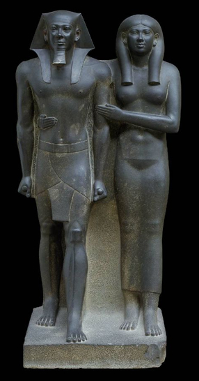 Menkaure (Mycerinus) and Khamerernebty(?), graywacke, c. 2490-2472 B.C.E. (Museum of Fine Arts, Boston)