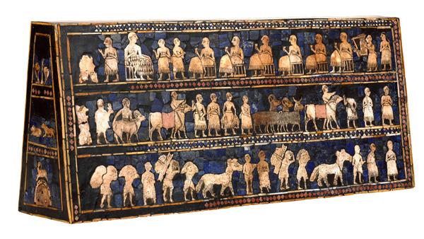 The Standard of Ur, 2600-2400 B.C.E., shell, red limestone, lapis lazuli, and bitumen (original wood no longer exists), 21.59 x 49.53 x 12 cm