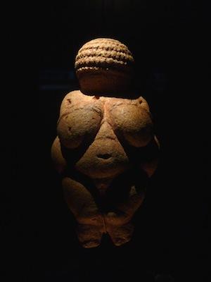 "Nude Woman (Venus of Willendorf), c. 28,000-25,000 B.C.E., Limestone, 4 1/4"" high (Naturhistorisches Museum, Vienna)"