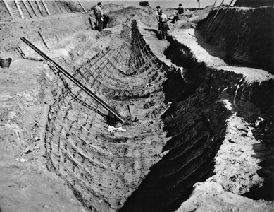 The Sutton Hoo ship excavation in 1939. Early Anglo-Saxon, early 7th century. Suffolk, England. © The Trustees of the British Museum