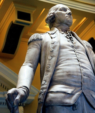 """Washington looking to his left, wearing his military uniform (detail), Jean-Antoine Houdon, George Washington, 1788-92, marble, 6' 2"""" high, State Capitol, Richmond, Virginia, (photo: Holley St. Germain, CC BY-NC-SA 2.0)"""